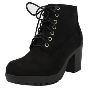 Shoes - Black Lace Up Faux Suede Lug Heel Ankle Boot